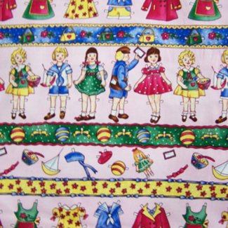 vintage paper doll fabric