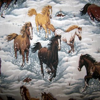 winter horses fabric