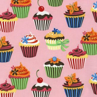 cupcakes light pink fabric