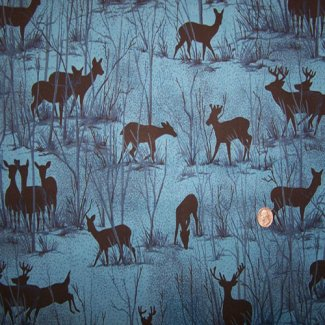 deer silhouette scene moonlight serenade fabric