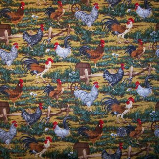 hens roosters fabric
