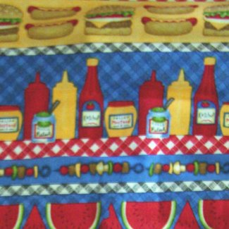 hot dogs burgers condiments fabric
