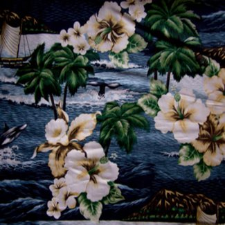 tropical waters flowers fabric