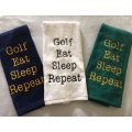 golf eat sleep repeat embroidered golf towel