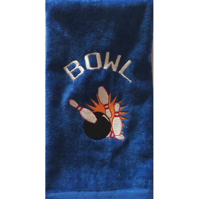 Embroidered Bowling Royal Blue Velour Towel-White Font