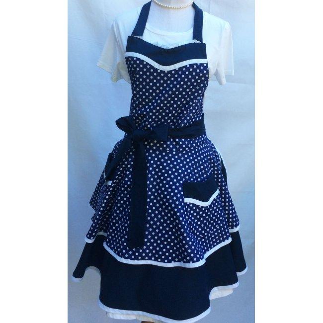 nautical navy blue white polka dot sweetheart pin up kitchen apron